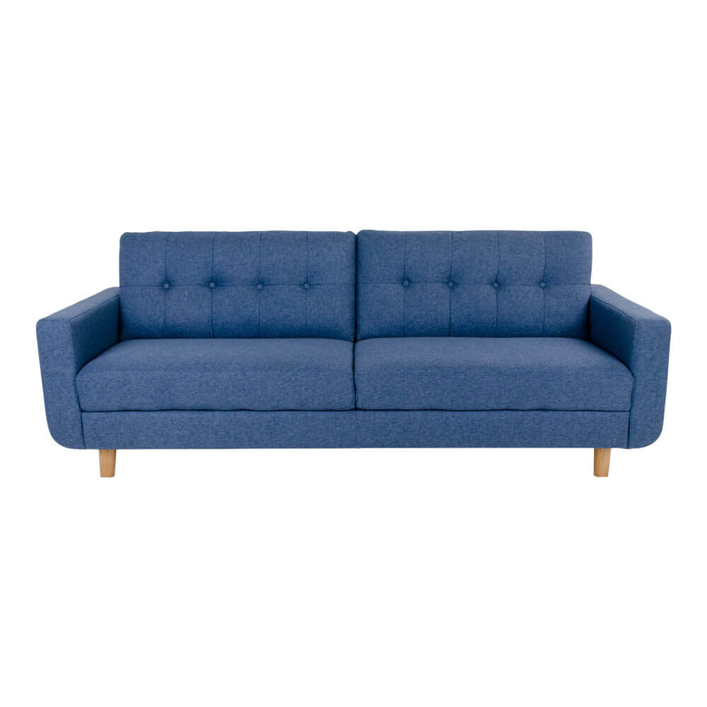 house nordic – House nordic artena sofa - blåt stof og træben, 3 personers (211x86) fra boboonline.dk