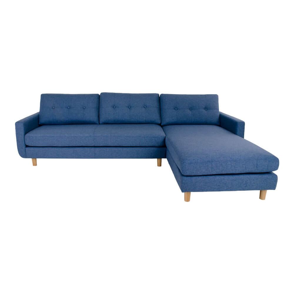 HOUSE NORDIC Artena Lounge sofa i blåt stof - højrevendt
