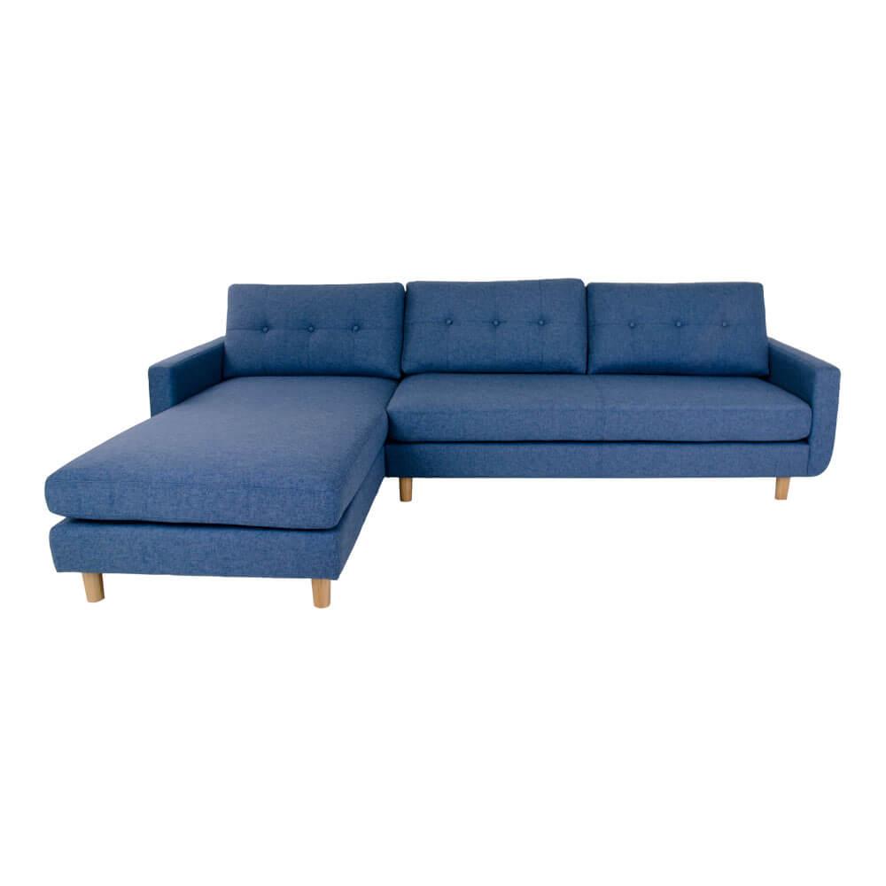 HOUSE NORDIC Artena Lounge sofa i blåt stof - venstrevendt