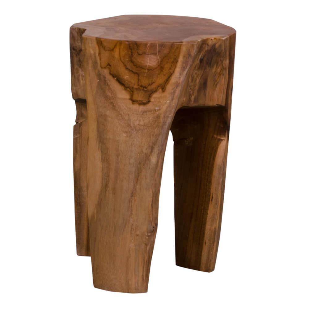 Image of   HOUSE NORDIC Rose Teak taburet i teaktræ med 3 ben