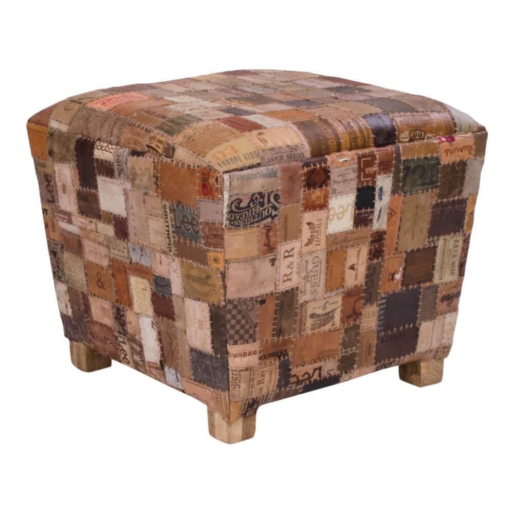 HOUSE NORDIC Timur skammel - patchwork læder og mangotræ (55x55)