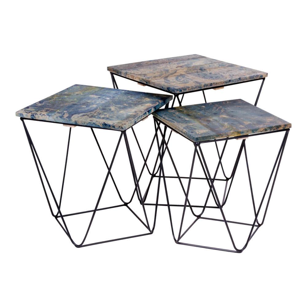 Image of   House Nordic Ranchi hjørnebord i mangotræ, marmor look blå 3 stk.