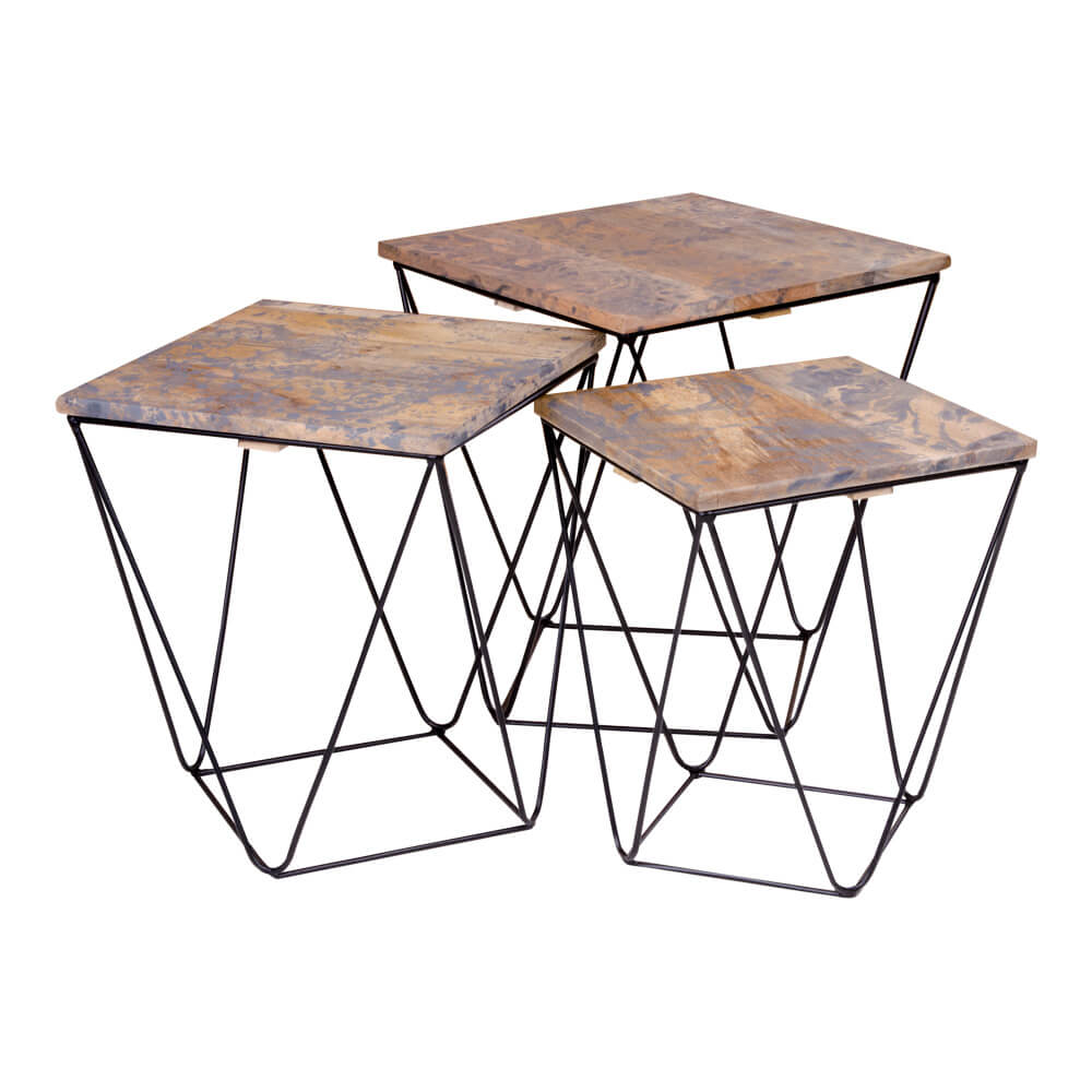Image of   House Nordic Ranchi hjørnebord i mangotræ, marmor look grå 3 stk.