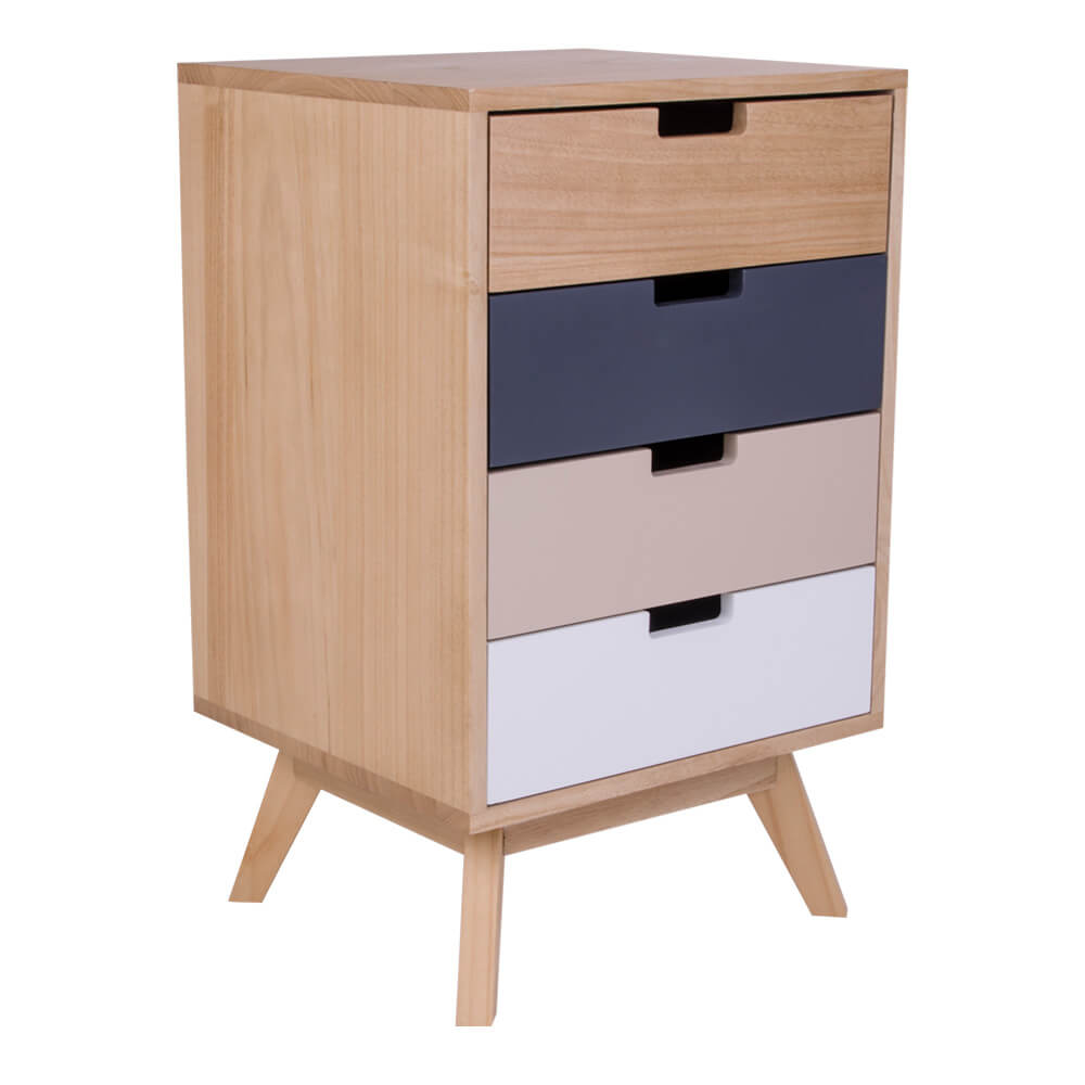 house nordic milano kommode i naturtr med 4 farvede skuffer kommoder bobo. Black Bedroom Furniture Sets. Home Design Ideas