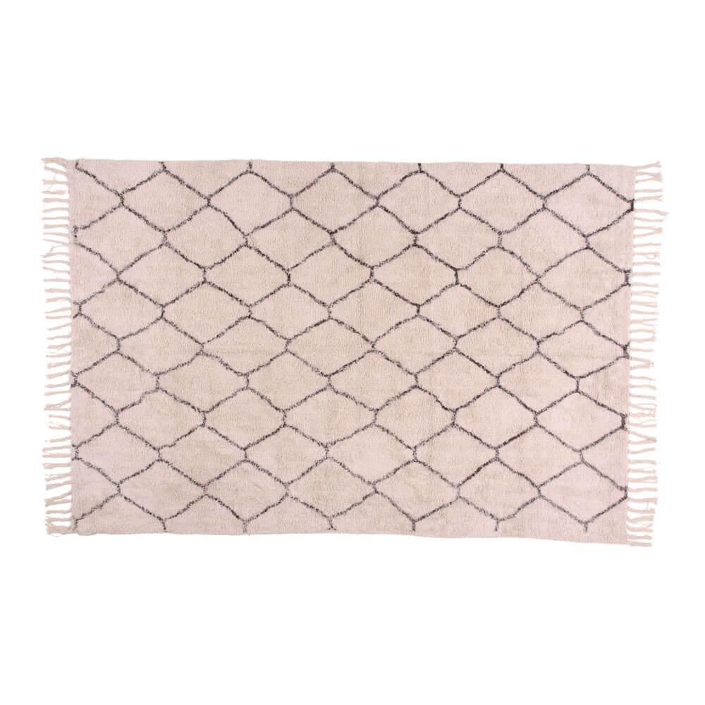 Billede af House Nordic Goa tæppe i naturfarvet bomuld med print