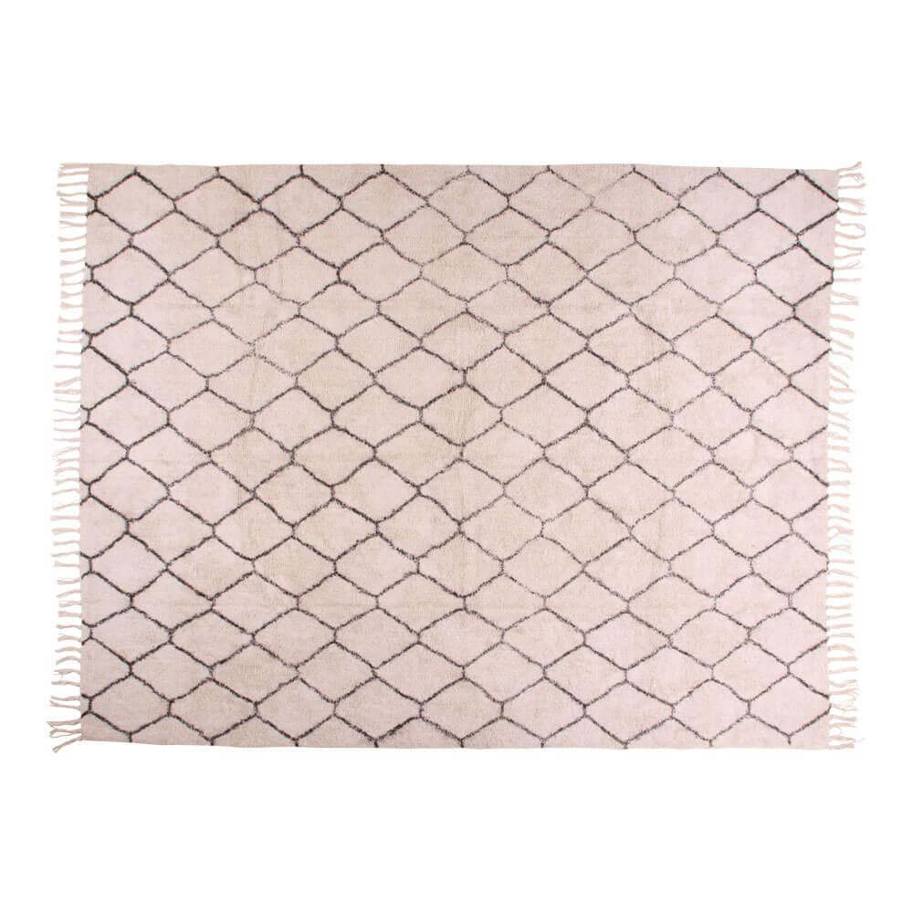 Image of   HOUSE NORDIC Goa tæppe i naturfarvet bomuld med print