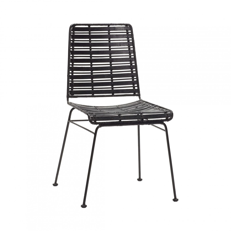 hübsch – H?bsch spisebordsstol - sort rattan og sort metal på boboonline.dk
