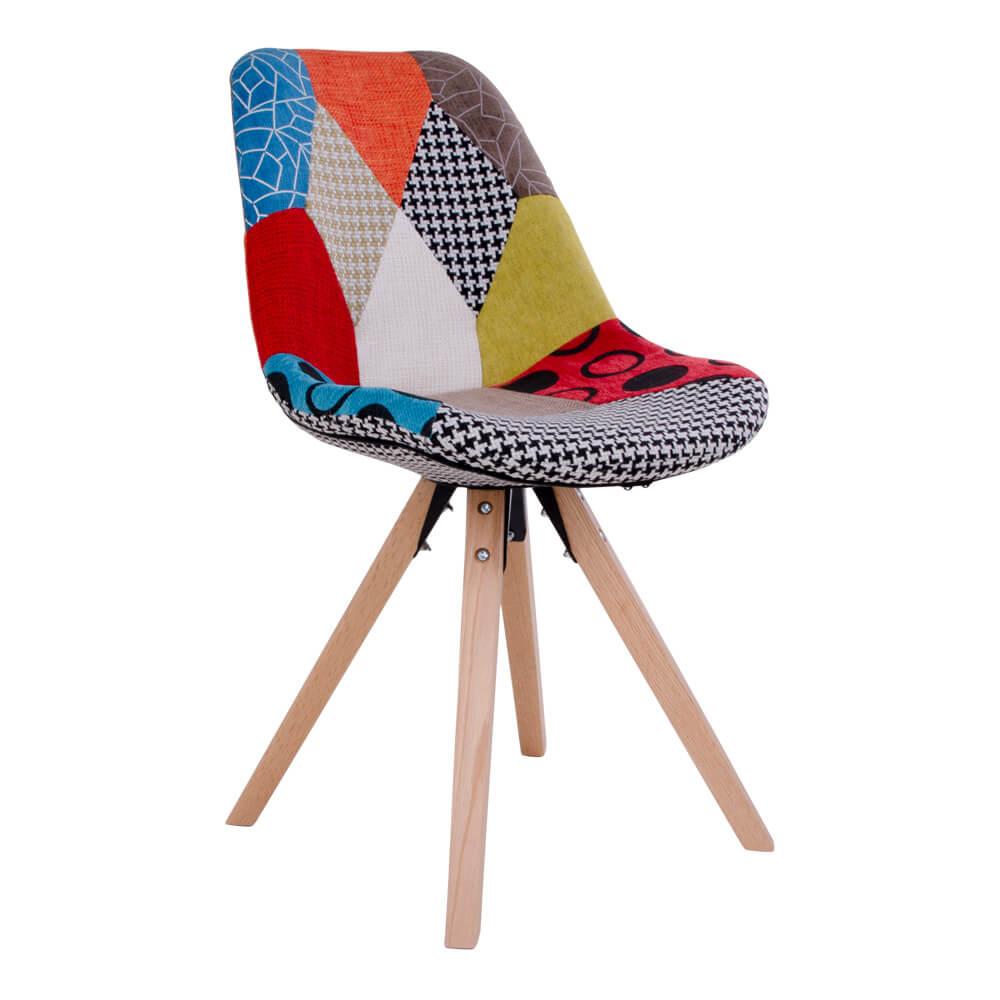 house nordic House nordic sanvik spisebordsstol - patchwork stol med natur træben fra boboonline.dk