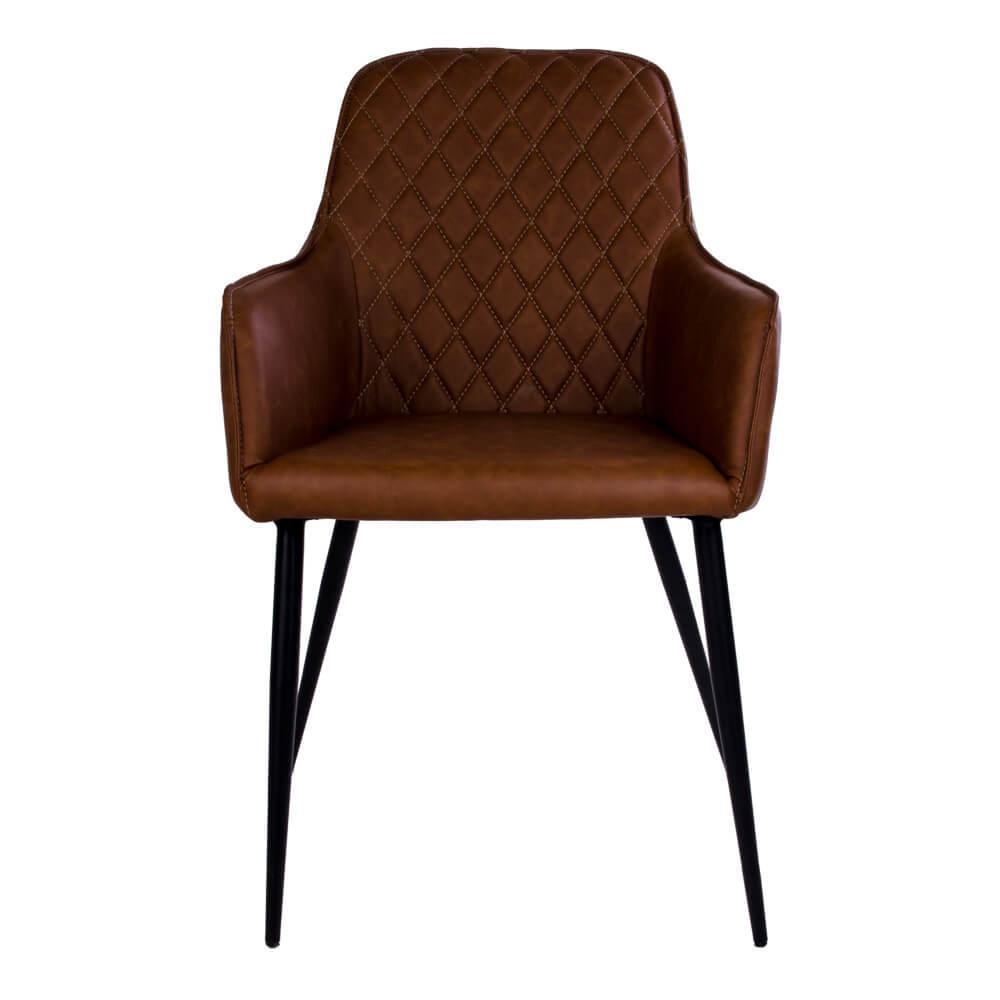 HOUSE NORDIC Harbo spisebordsstol - vintage brunt kunstlæder og sorte stålben, m. armlæn
