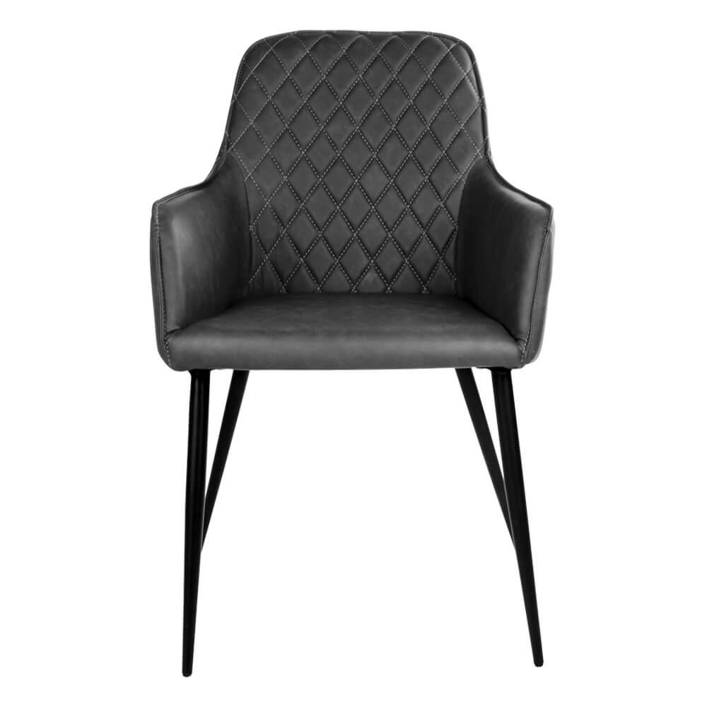 HOUSE NORDIC Harbo spisebordsstol med armlæn i mørkegråt PU