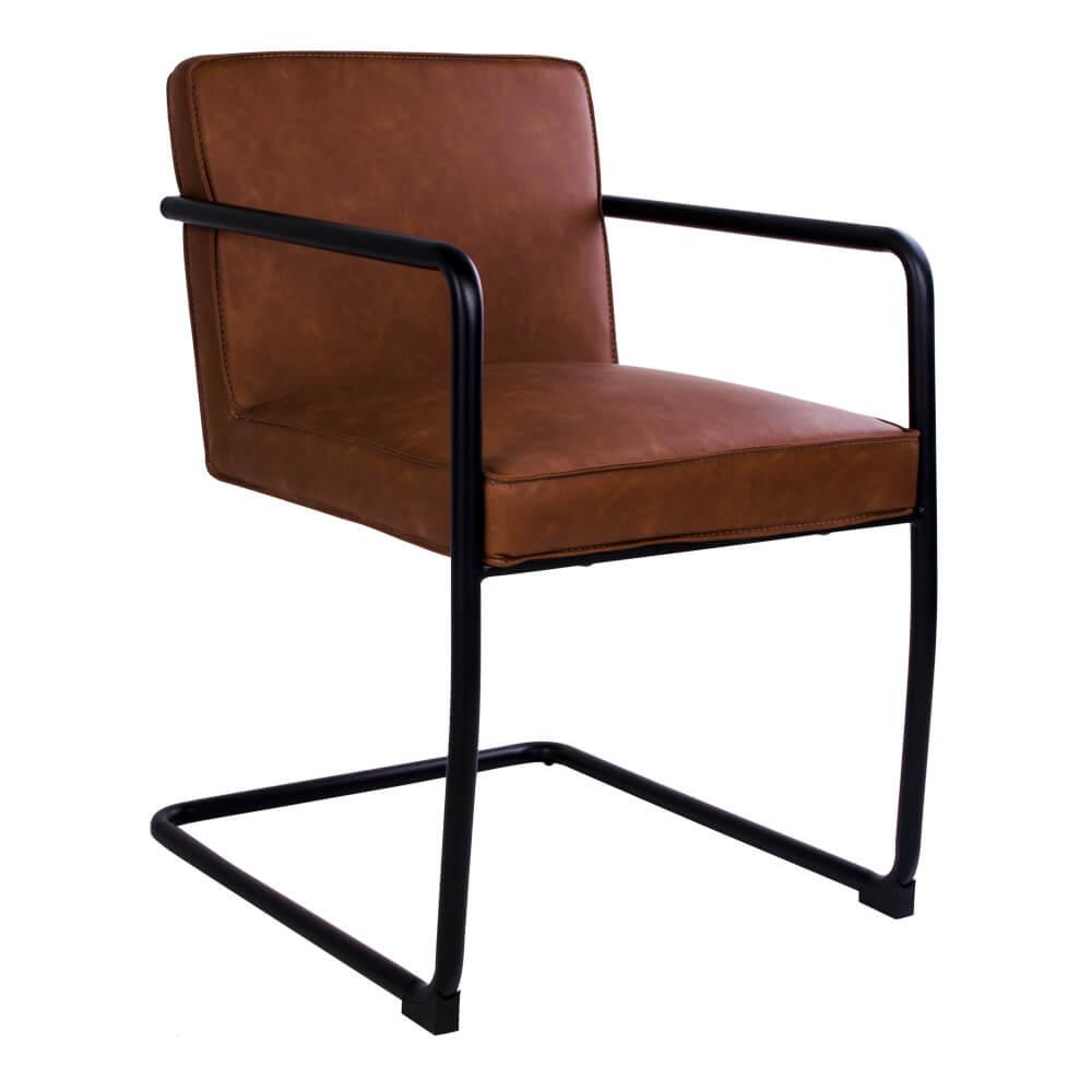 House nordic valbo spisebordsstol med armlæn i brunt kunstlæder fra house nordic på boboonline.dk