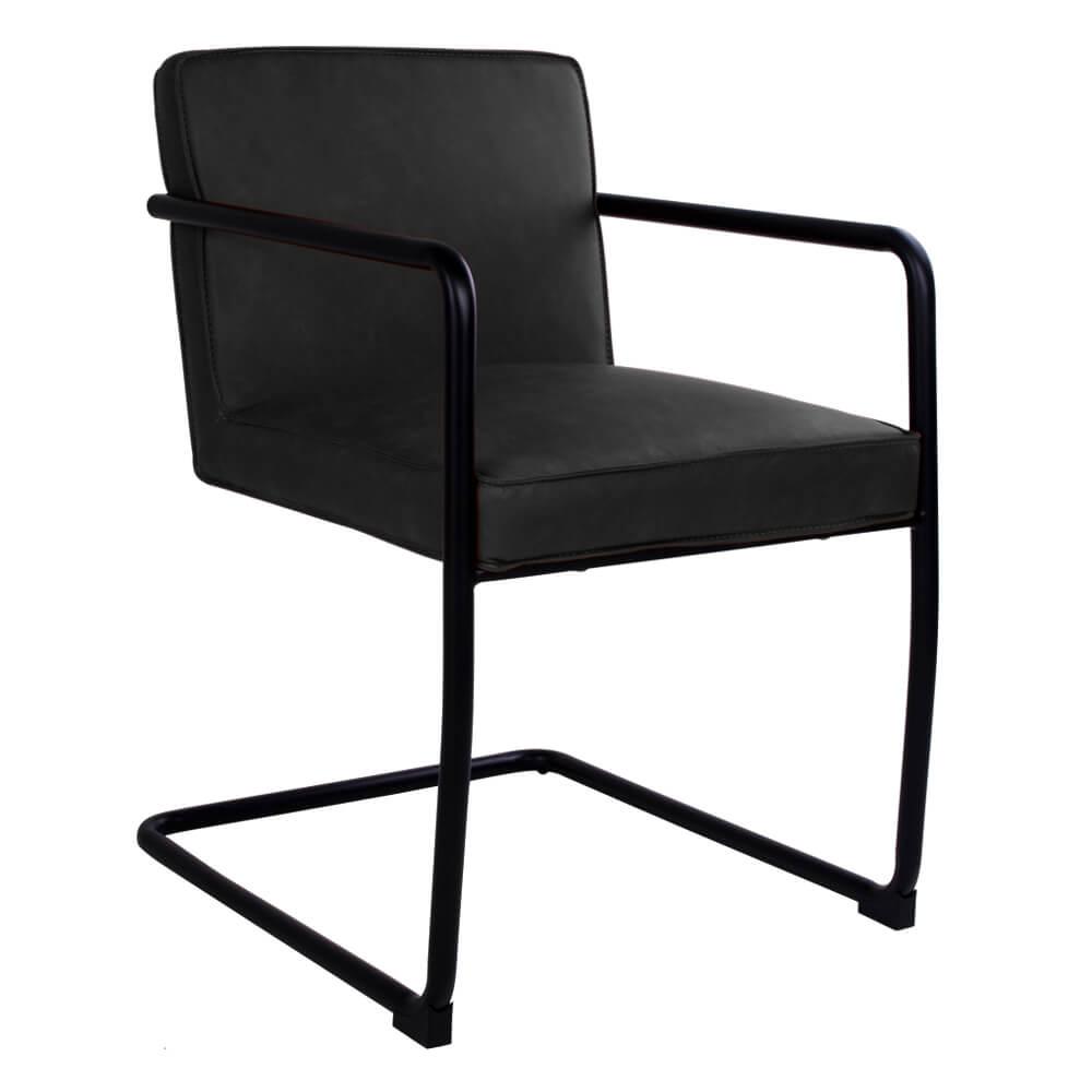 house nordic – House nordic valbo spisebordsstol med armlæn i sort kunstlæder fra boboonline.dk