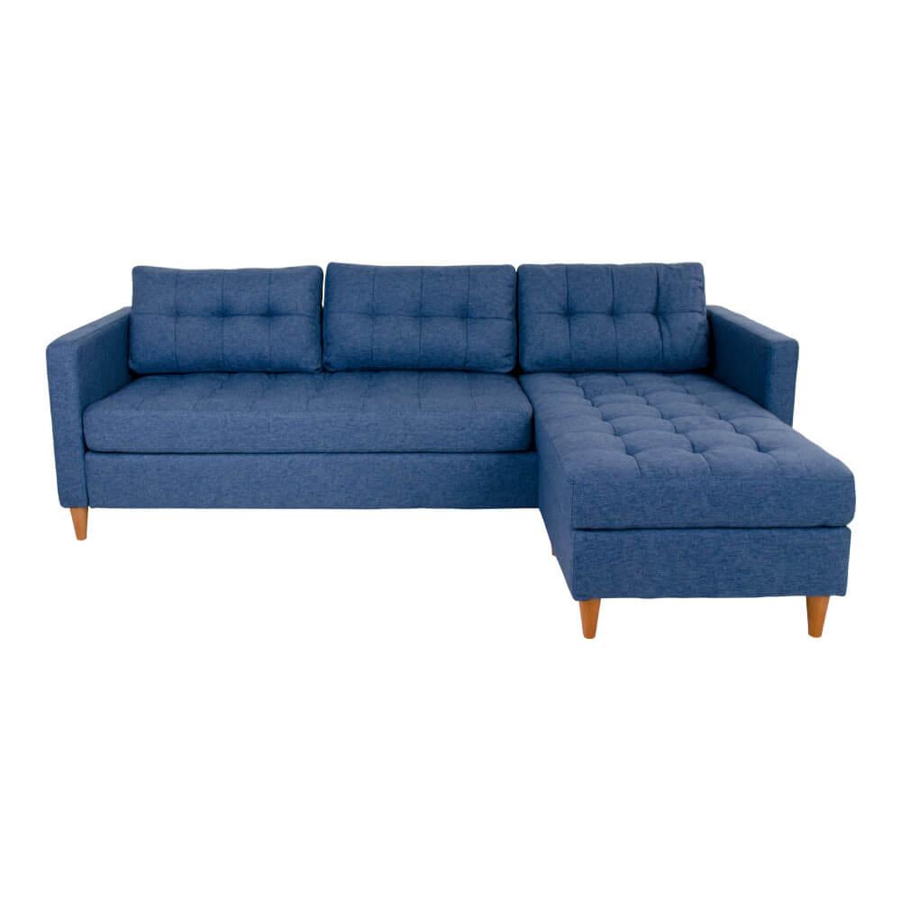 Billede af HOUSE NORDIC Marino sofa - blåt stof og træben, m. flytbar chaiselong (219x151)