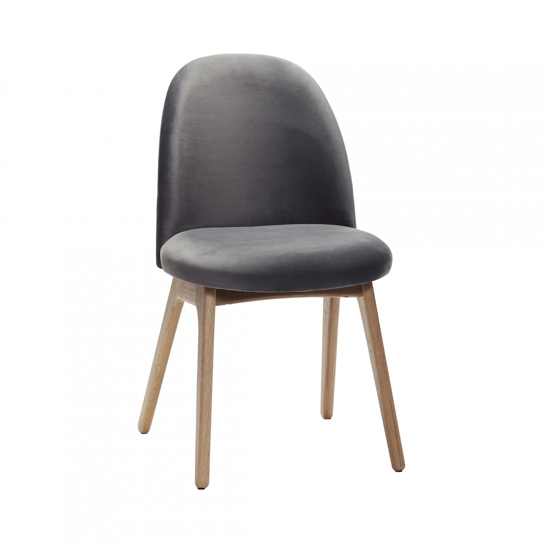Image of   Hüsch spisebordsstol af massiv eg og mørkegrå velour