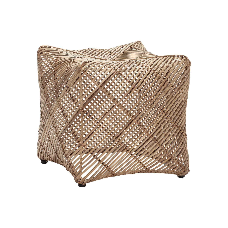 Image of   HÜBSCH skammel, firkantet, naturligt rattan