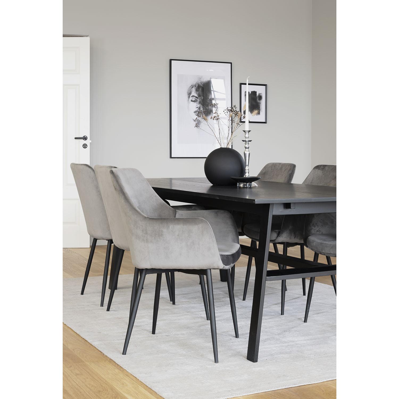 ROWICO Ramsey loungestol, m. armlæn - grå fløjl m. sorte metalben