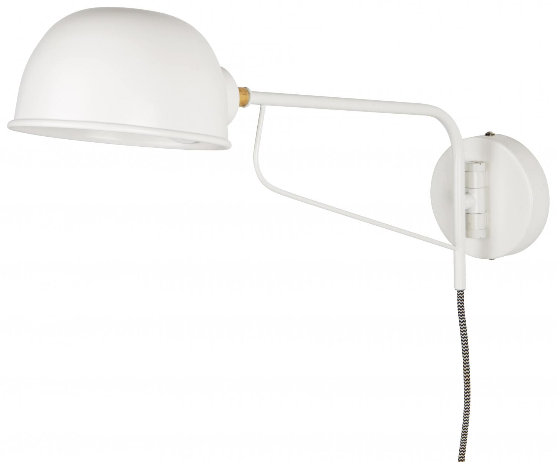 IB LAURSEN hvid væglampe m rund skærm, hvid metal