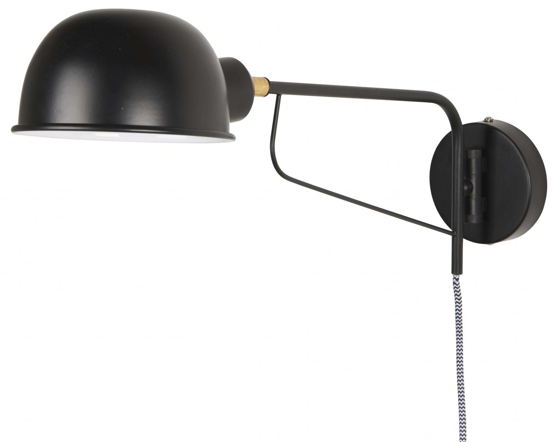 Billede af IB LAURSEN væglampe med rund skærm, sort metal
