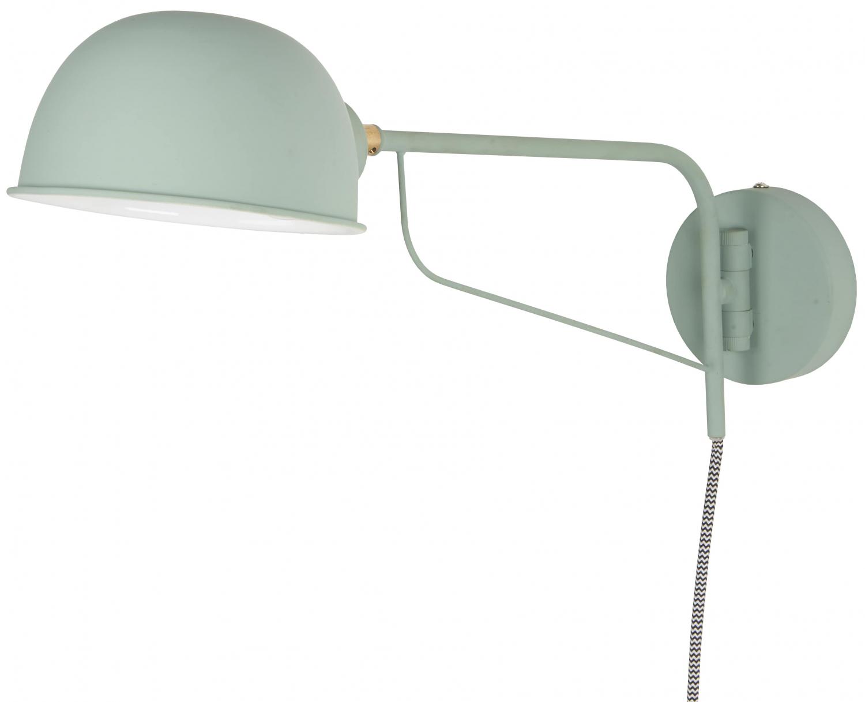 Væglampe med rund skærm, oliven
