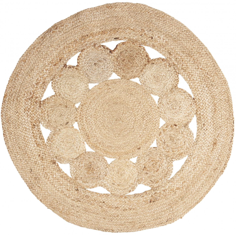 Image of   Rund jute måtte med cirkelmønster