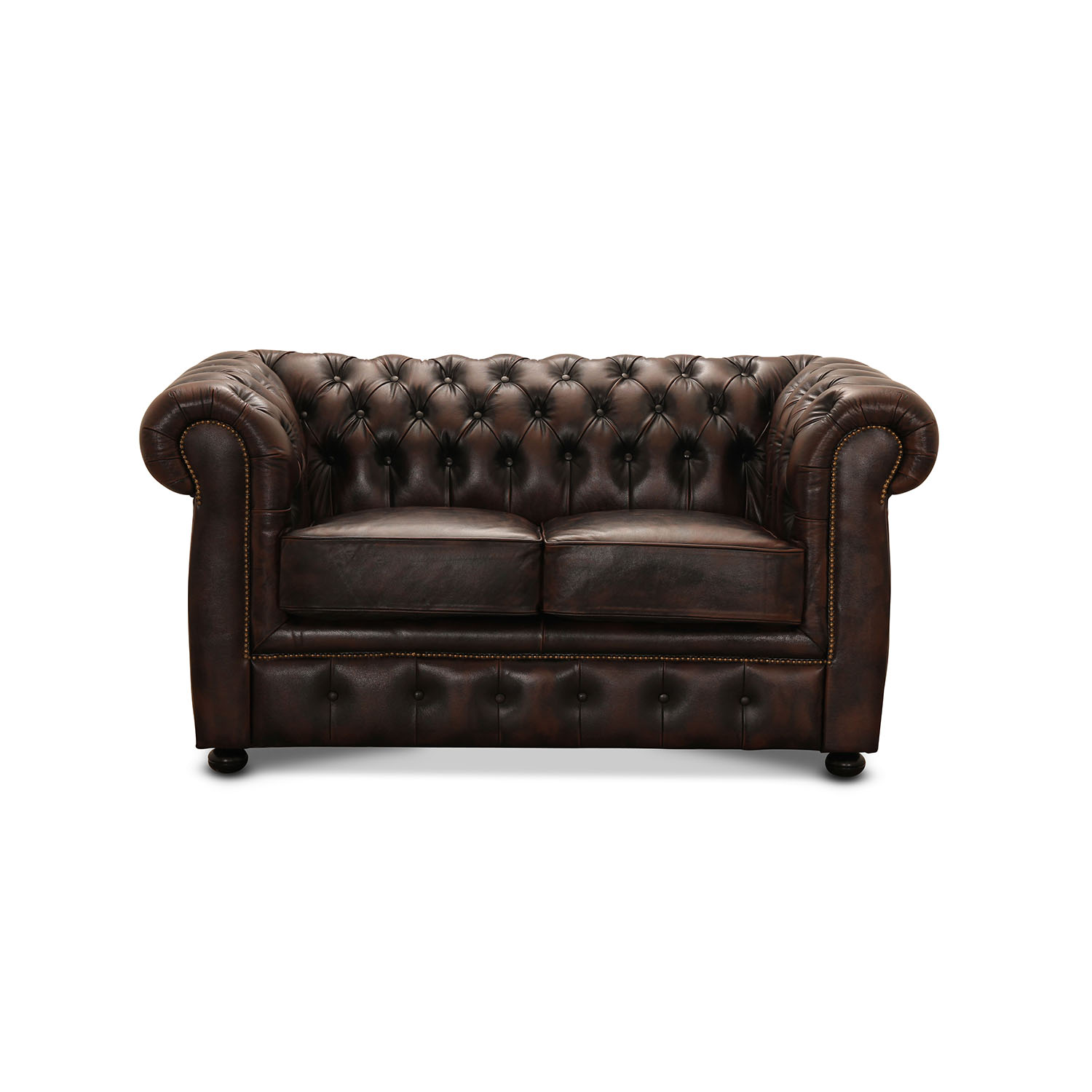 Image of   HAGA Liverpool 2 pers. chesterfield sofa - brun læder