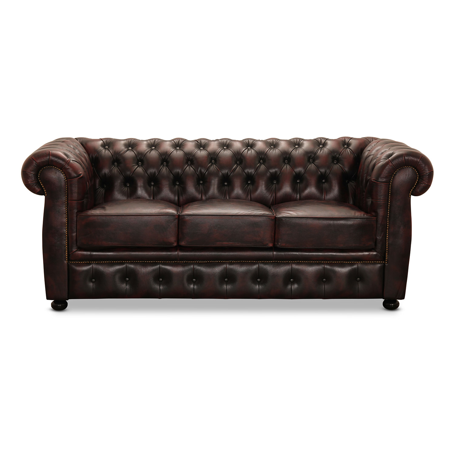 Image of   HAGA Liverpool 3 chesterfield sofa - oxblod læder