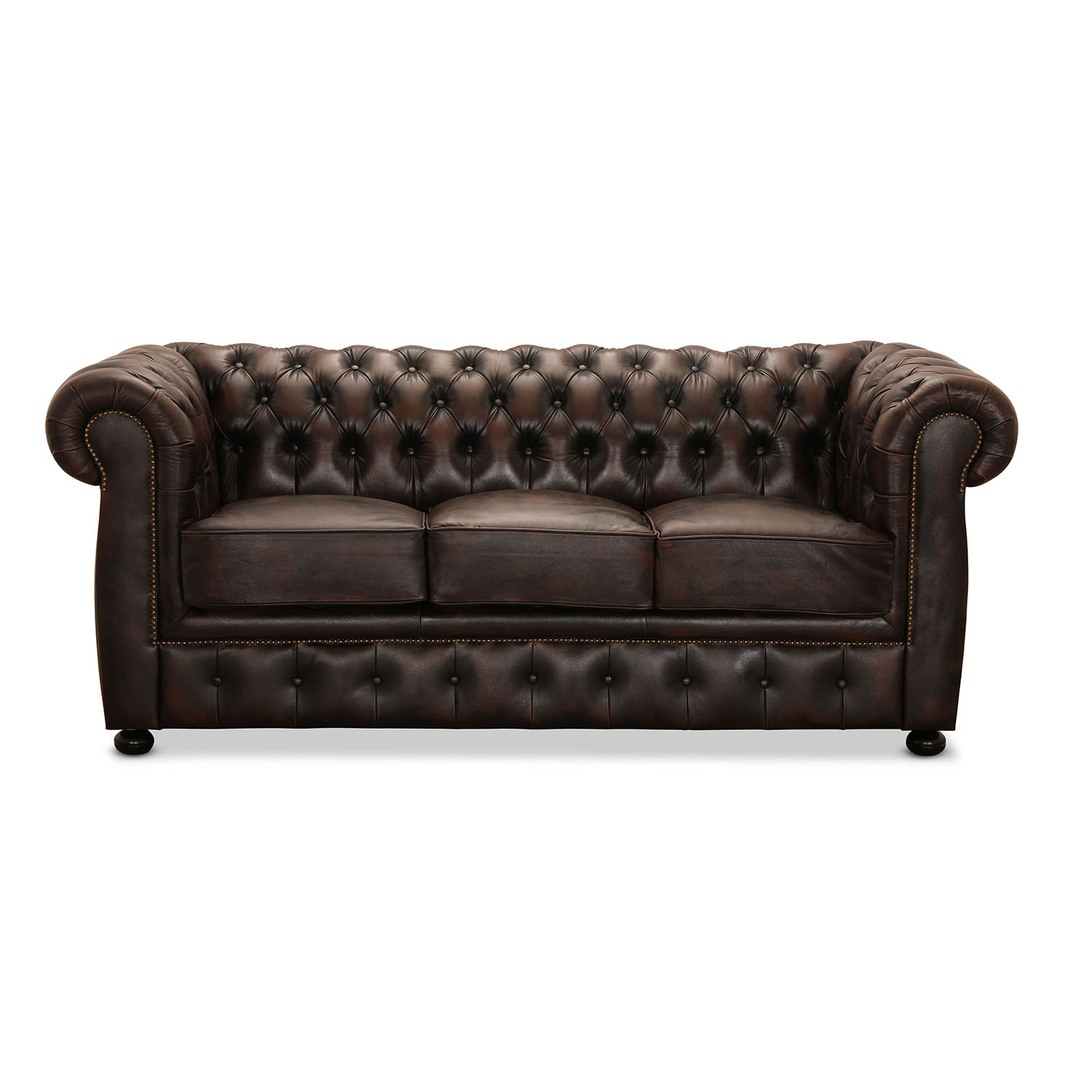 Liverpool 3 personer chesterfield sofa - brun