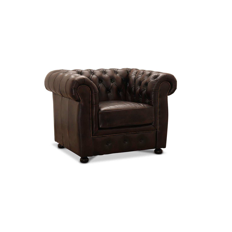 HAGA Liverpool chesterfield lænestol brunt læder