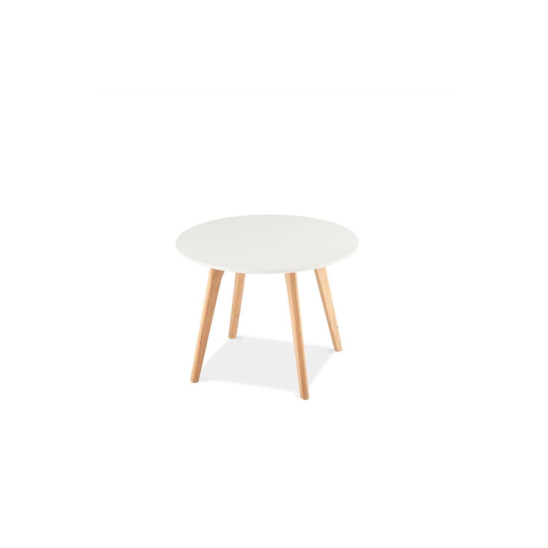 Life sofabord - mat hvid træ m. egetræsben, rundt (Ø:60)