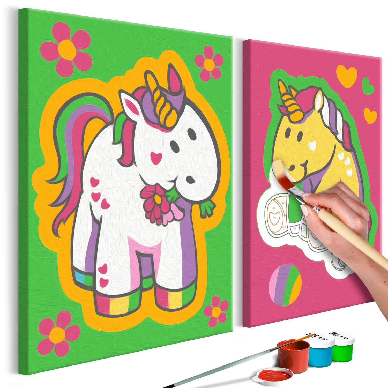 Artgeist diy unicorns green & pink maleri - hvidt lærred, inkl. maling og pensel (h: 23cm) fra artgeist på boboonline.dk