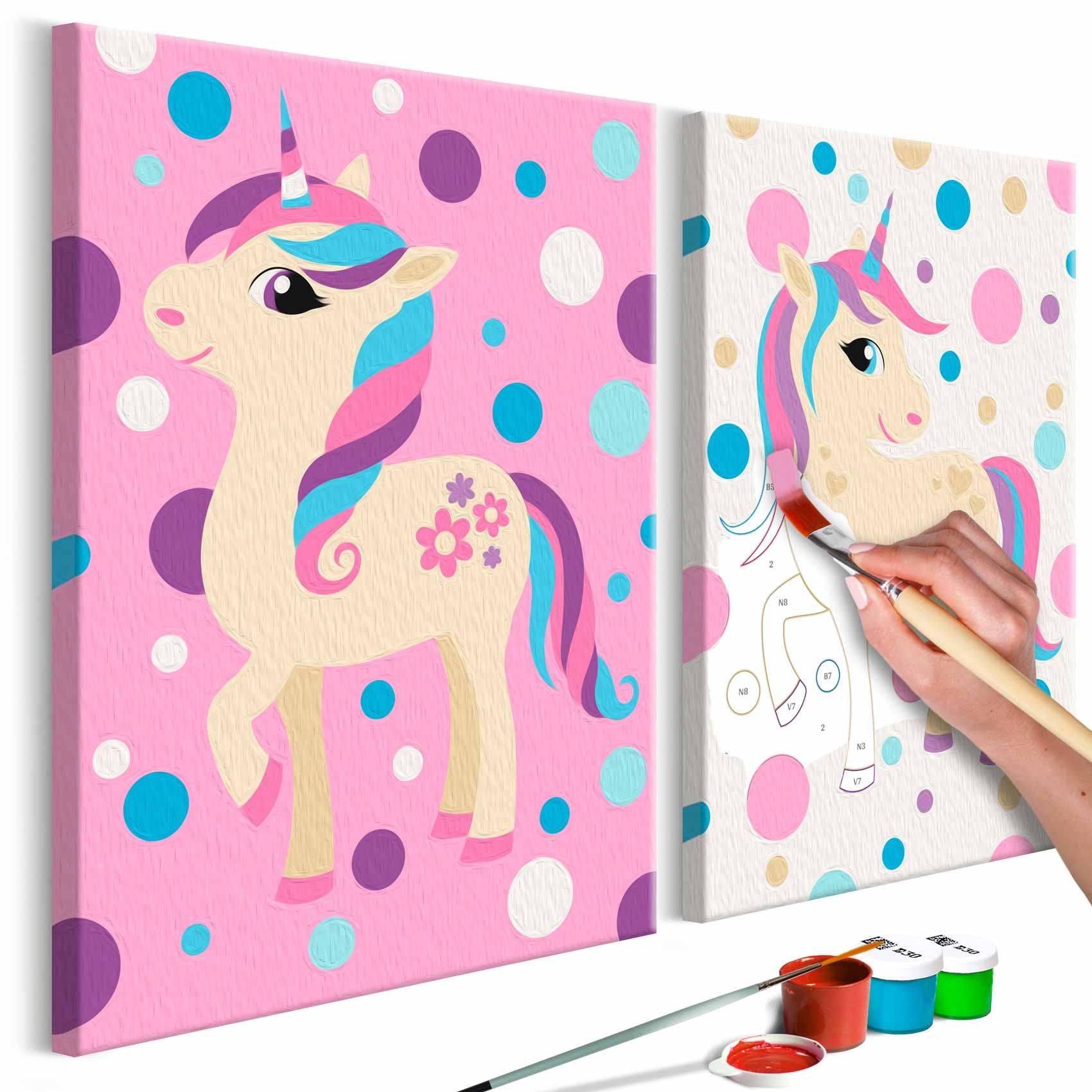 artgeist – Artgeist diy unicorns pastel colours maleri - hvidt lærred, inkl. maling og pensel (h: 23cm) fra boboonline.dk