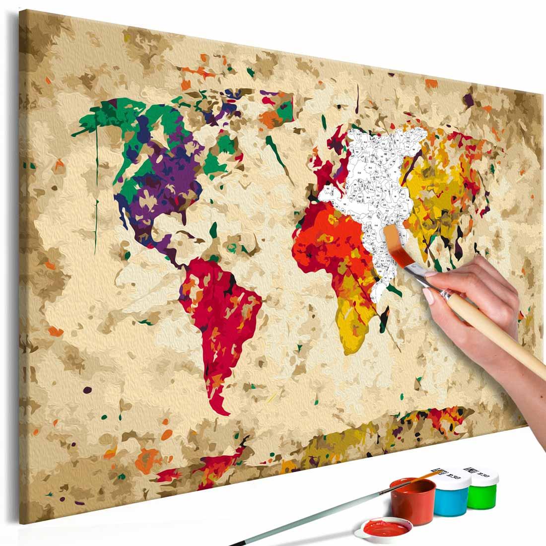 artgeist Artgeist diy verdenskort colour splashes maleri - hvidt lærred, inkl. maling og 2 pensler (h: 40cm) på boboonline.dk