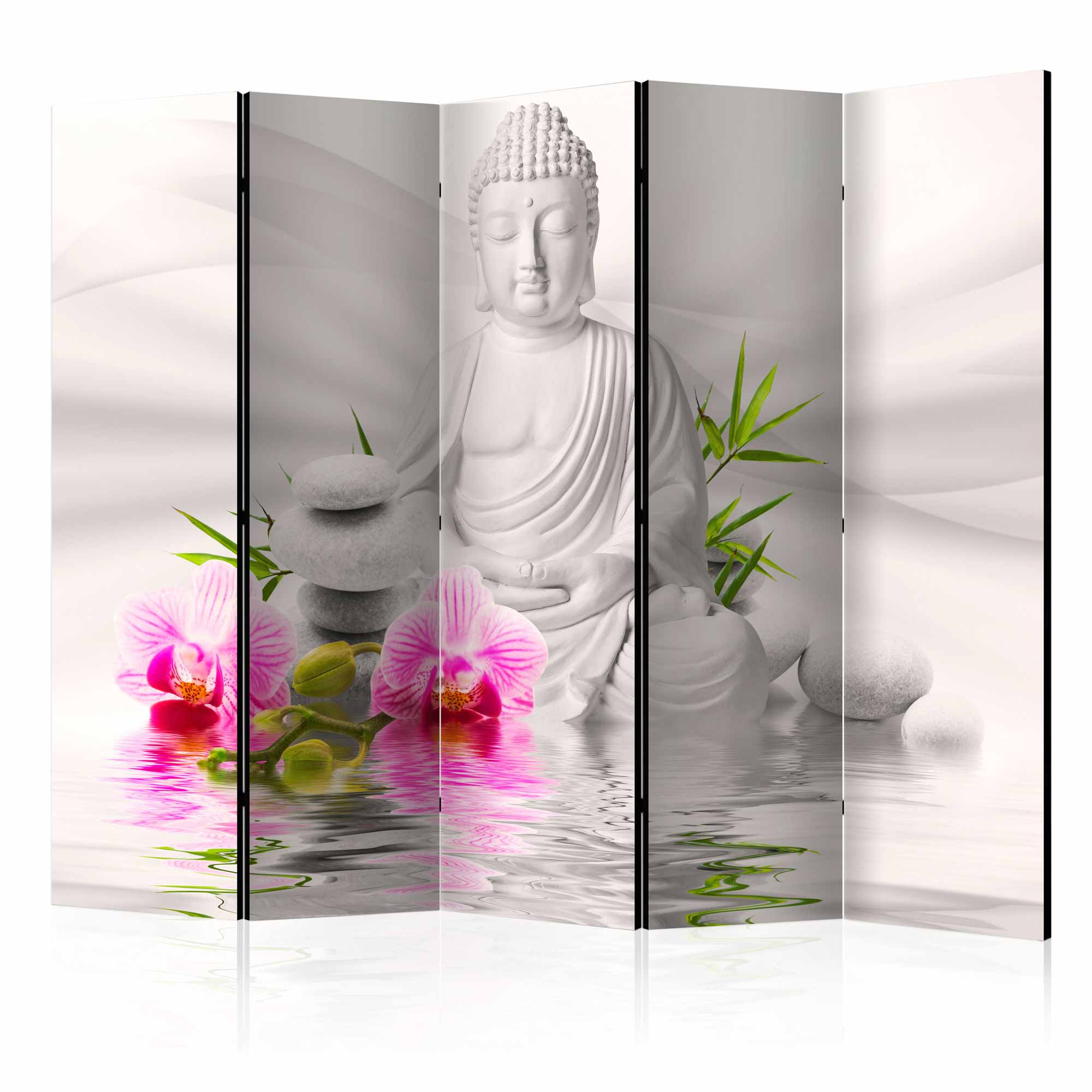 Image of   ARTGEIST Skærmvæg - Buddha and Orchids II [Room Dividers]