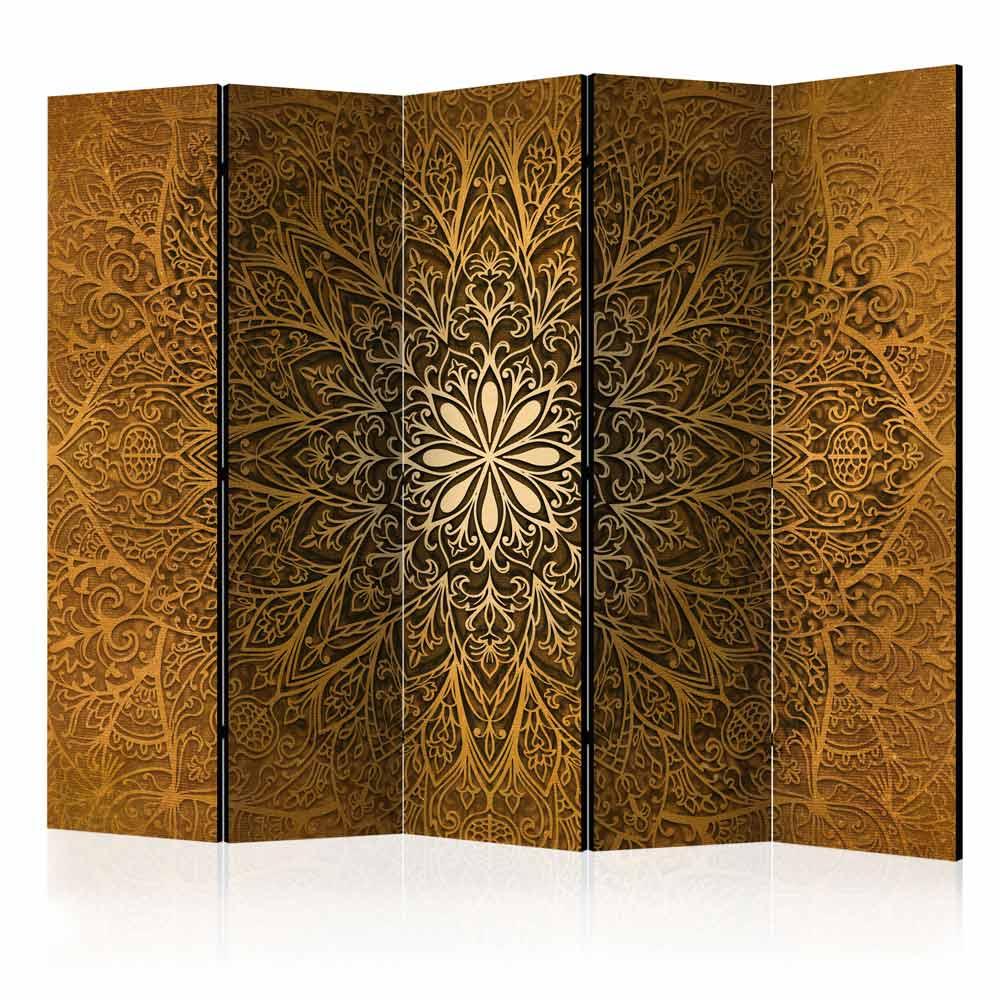 artgeist sacred circle ii rumdeler - guld/brun print (172x225) fra artgeist