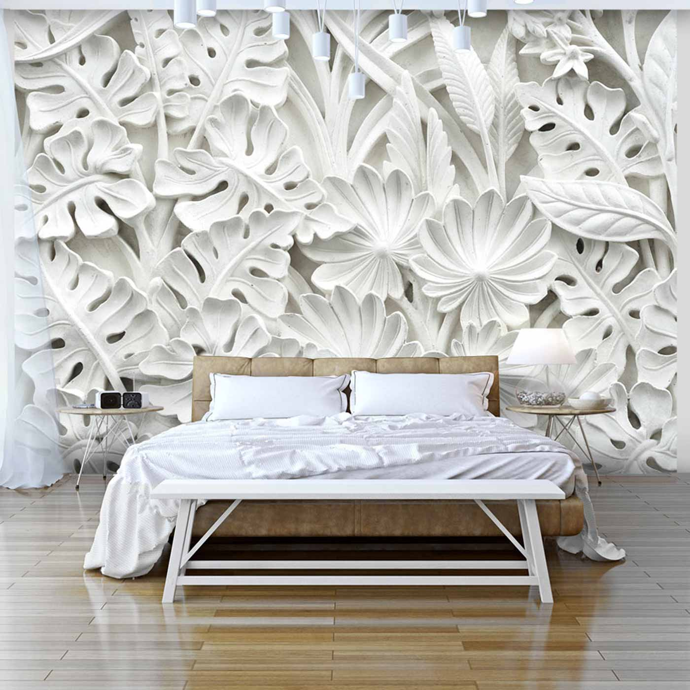 Image of ARTGEIST Alabaster Garden fototapet - hvid print (105x150)