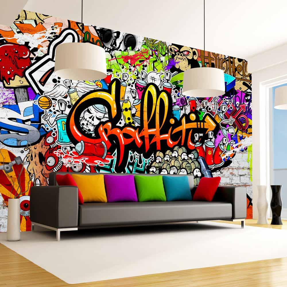 artgeist – Artgeist colorful graffiti fototapet - multifarvet print (105x150) på boboonline.dk
