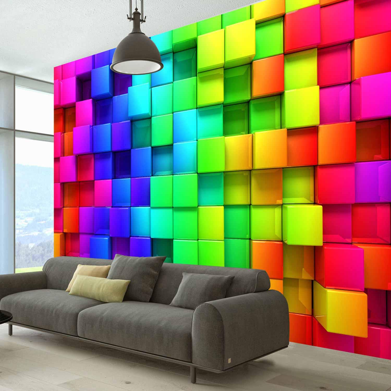 artgeist – Artgeist colourful cubes fototapet - multifarvet print (105x150) på boboonline.dk