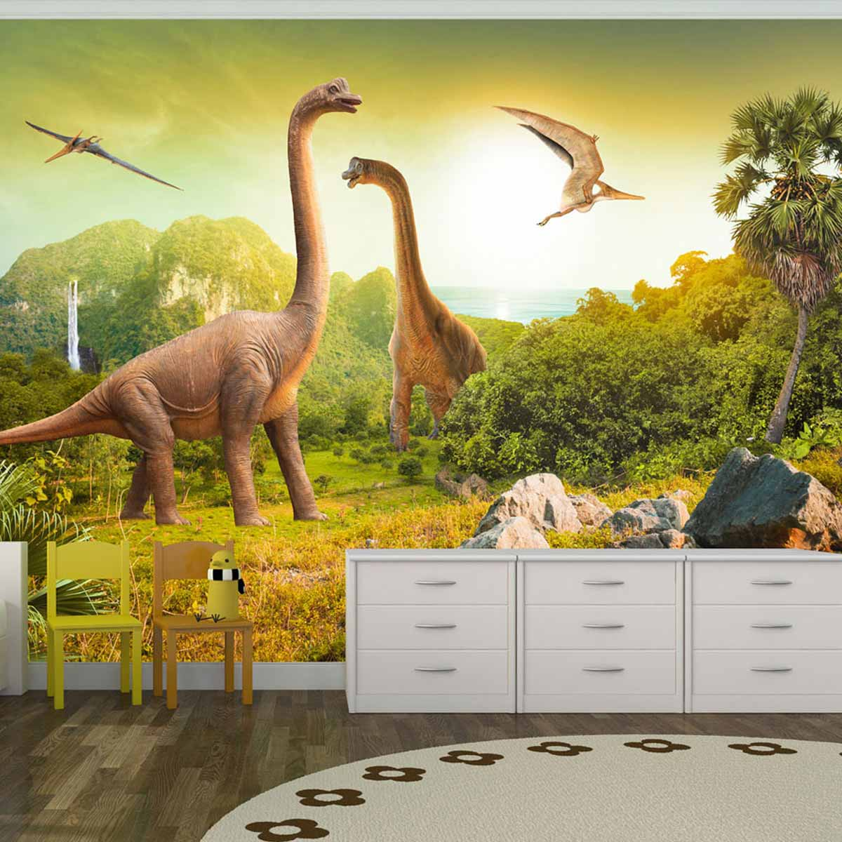 artgeist Artgeist dinosaurs fototapet til børn - multifarvet print (210x300) fra boboonline.dk