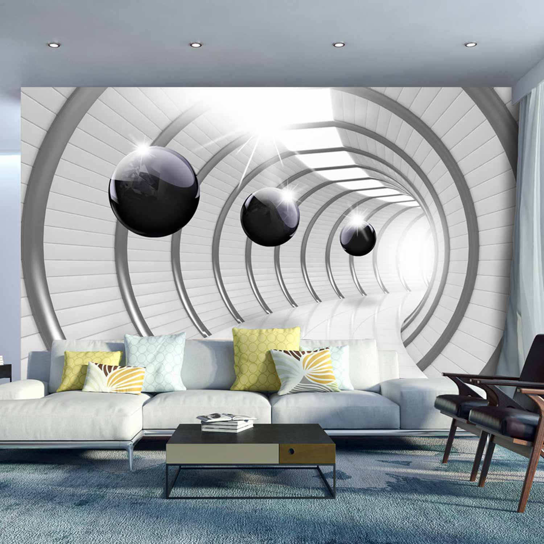 artgeist – Artgeist futuristic tunnel fototapet - grå/sort print (105x150) fra boboonline.dk