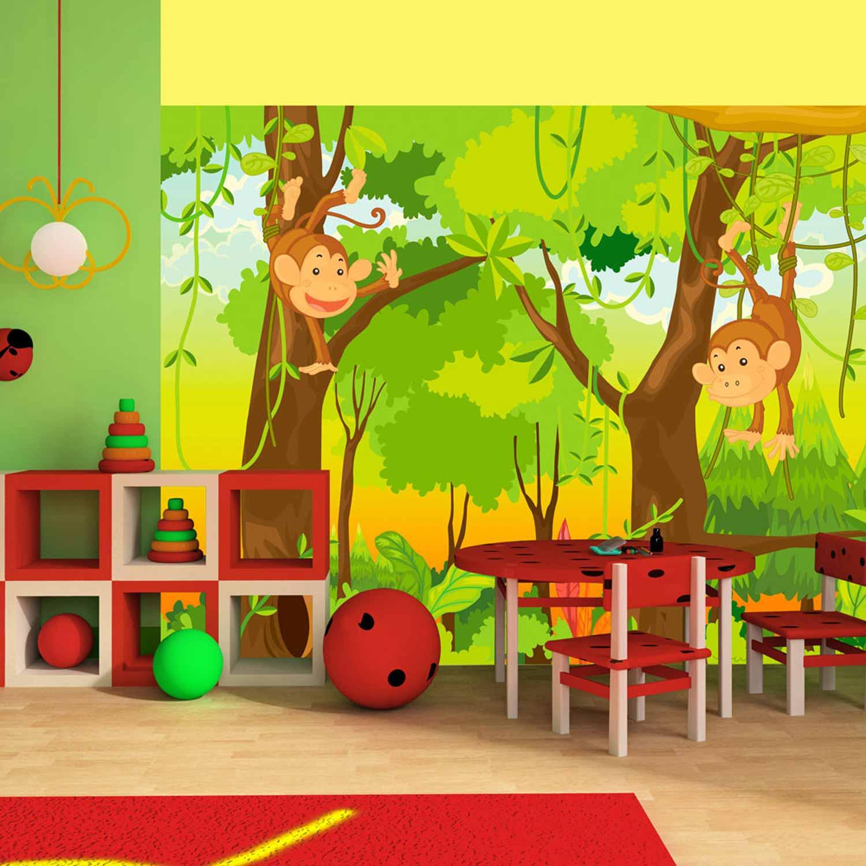 artgeist Artgeist jungle monkeys fototapet til børn - multifarvet print (231x300) fra boboonline.dk