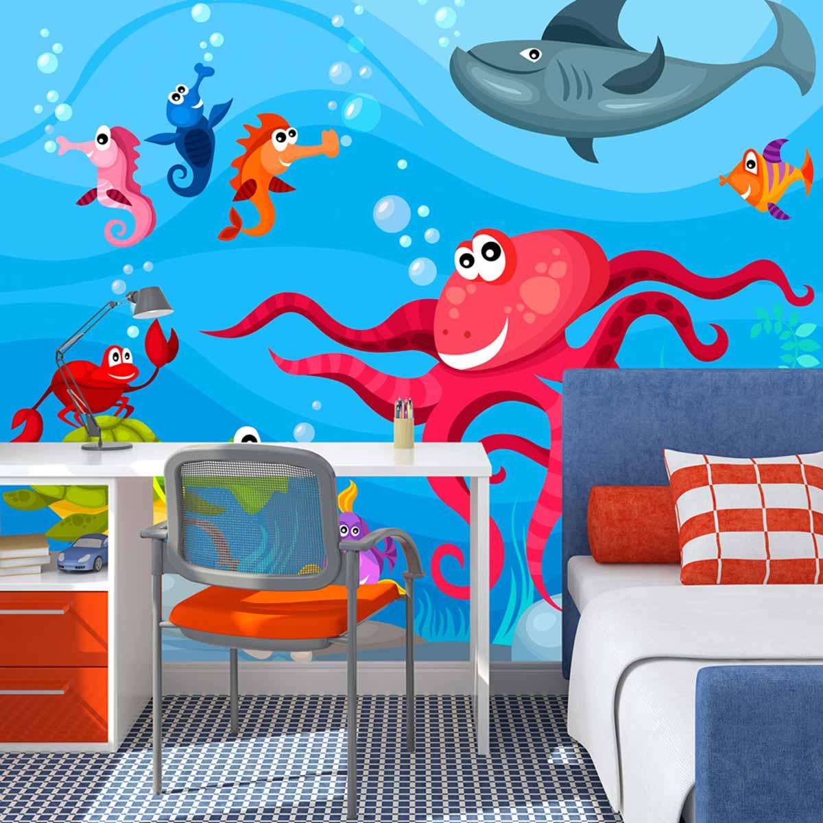 artgeist – Artgeist octopus and shark fototapet til børn - multifarvet print (231x300) på boboonline.dk