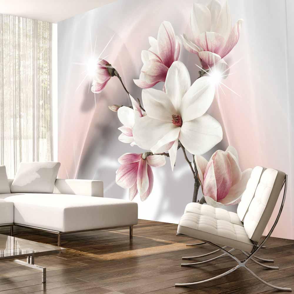 Artgeist white magnolias fototapet - hvid/lyserød/grå print (105x150) fra artgeist på boboonline.dk