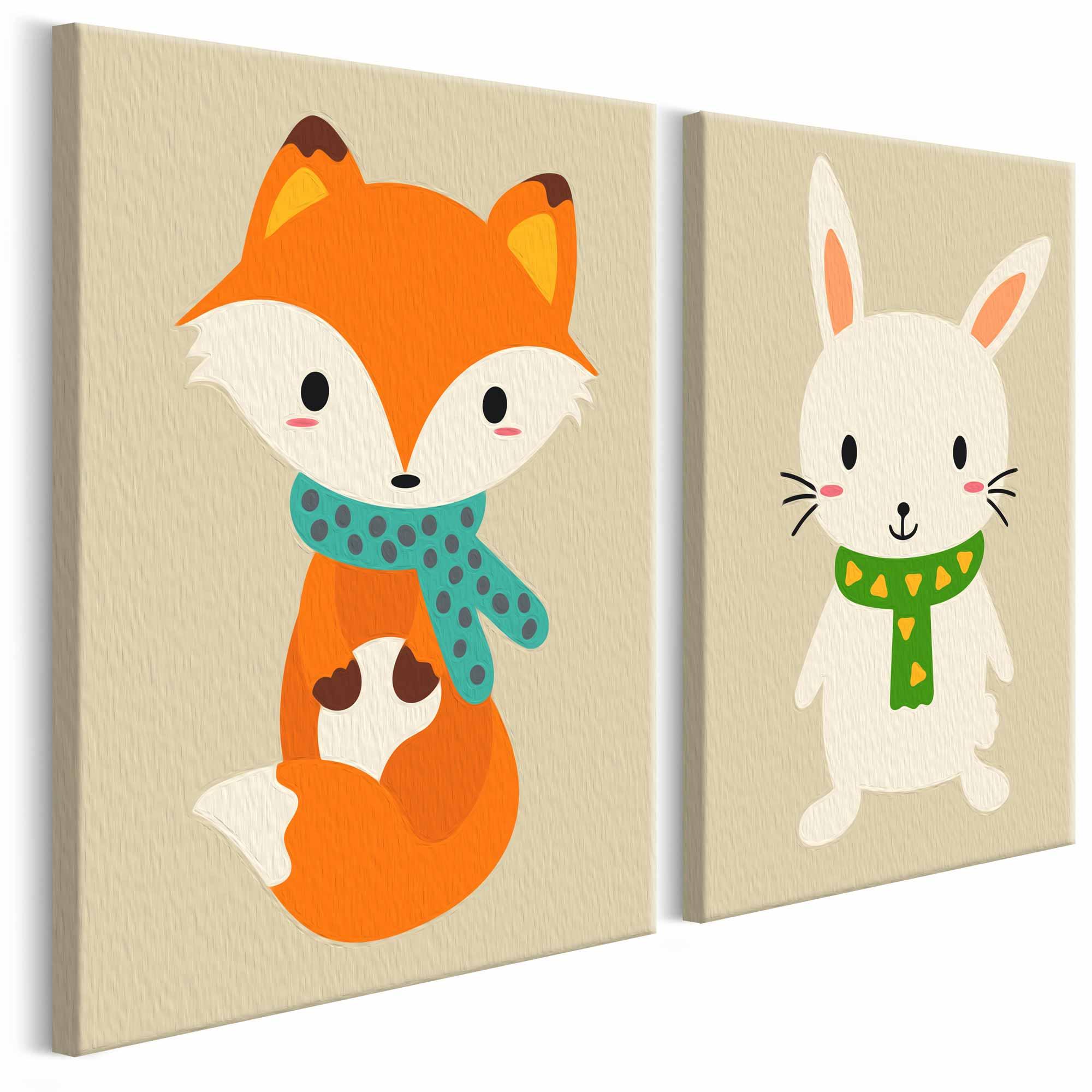 Artgeist diy fox & bunny maleri - hvidt lærred, inkl. maling og pensel (23x100) fra artgeist på boboonline.dk