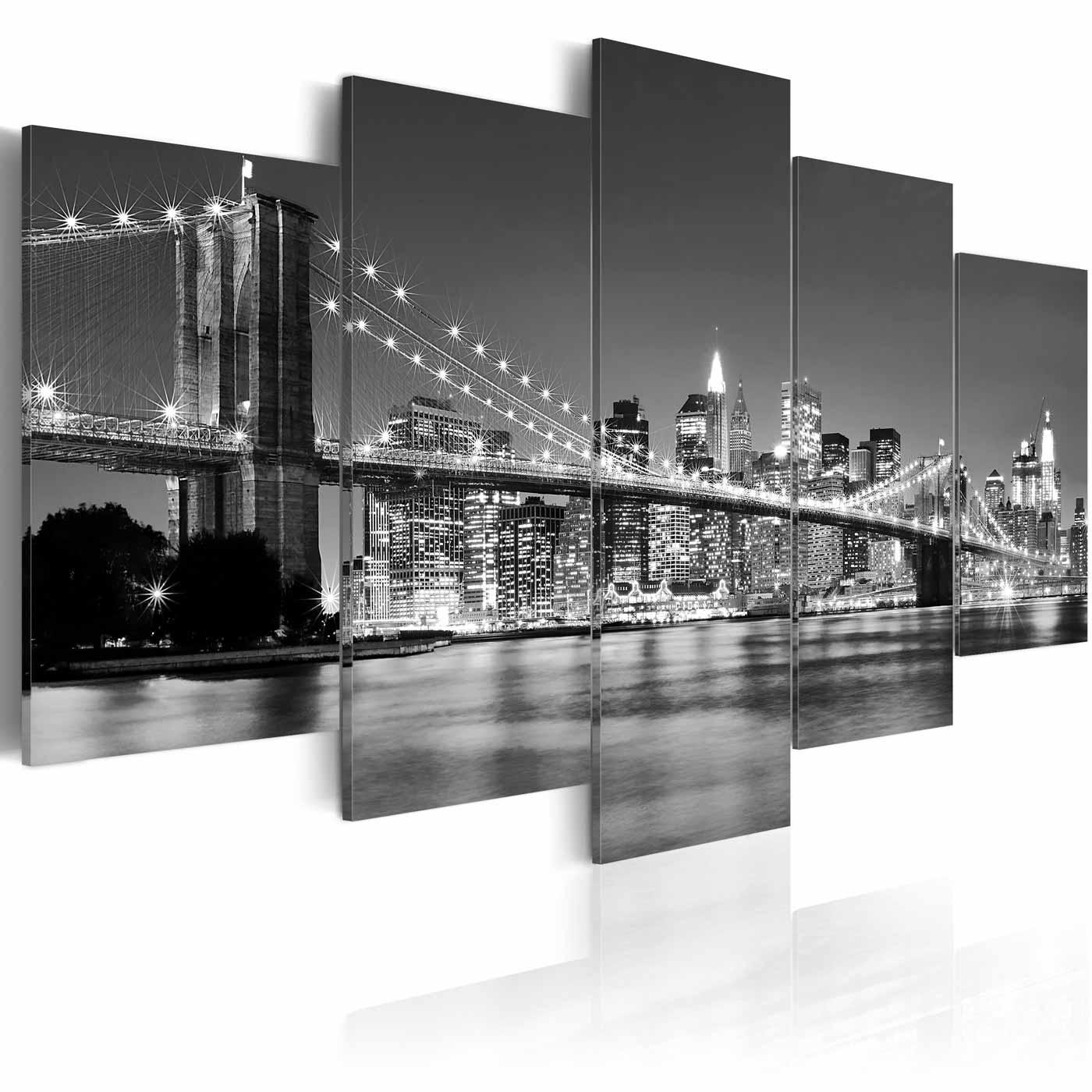 Artgeist drømmen om new york billede - sort/grå/hvid print (50x100) fra artgeist fra boboonline.dk