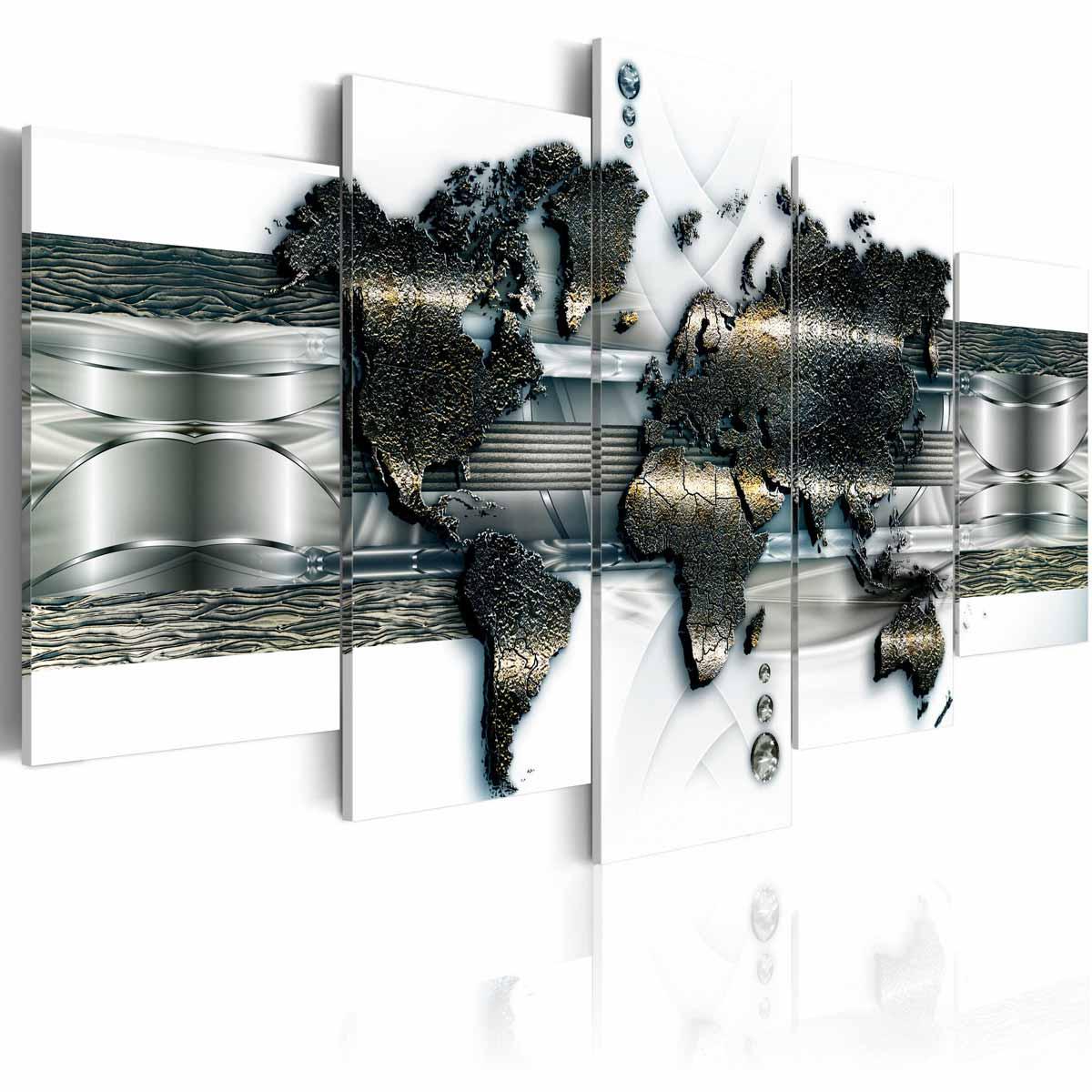 Artgeist metal verdenskort billede - hvid/sølv/bronze print, 2 størrelser 200x100 fra artgeist fra boboonline.dk