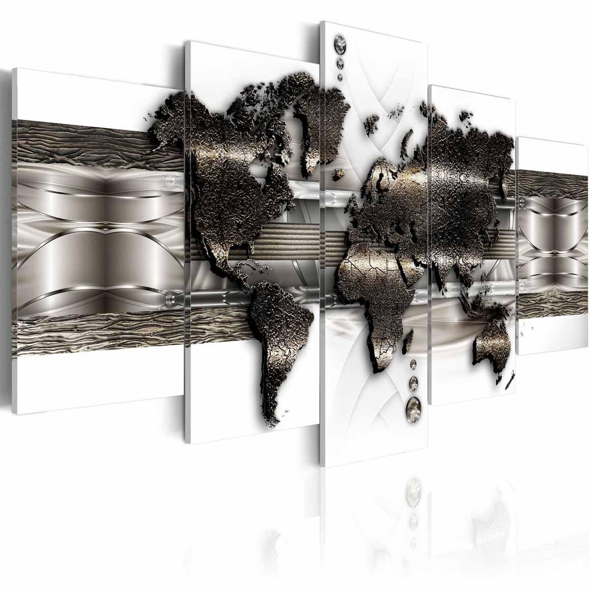 artgeist – Artgeist metal verdenskort ii billede - hvid/sølv/bronze print, 2 størrelser 100x50 fra boboonline.dk