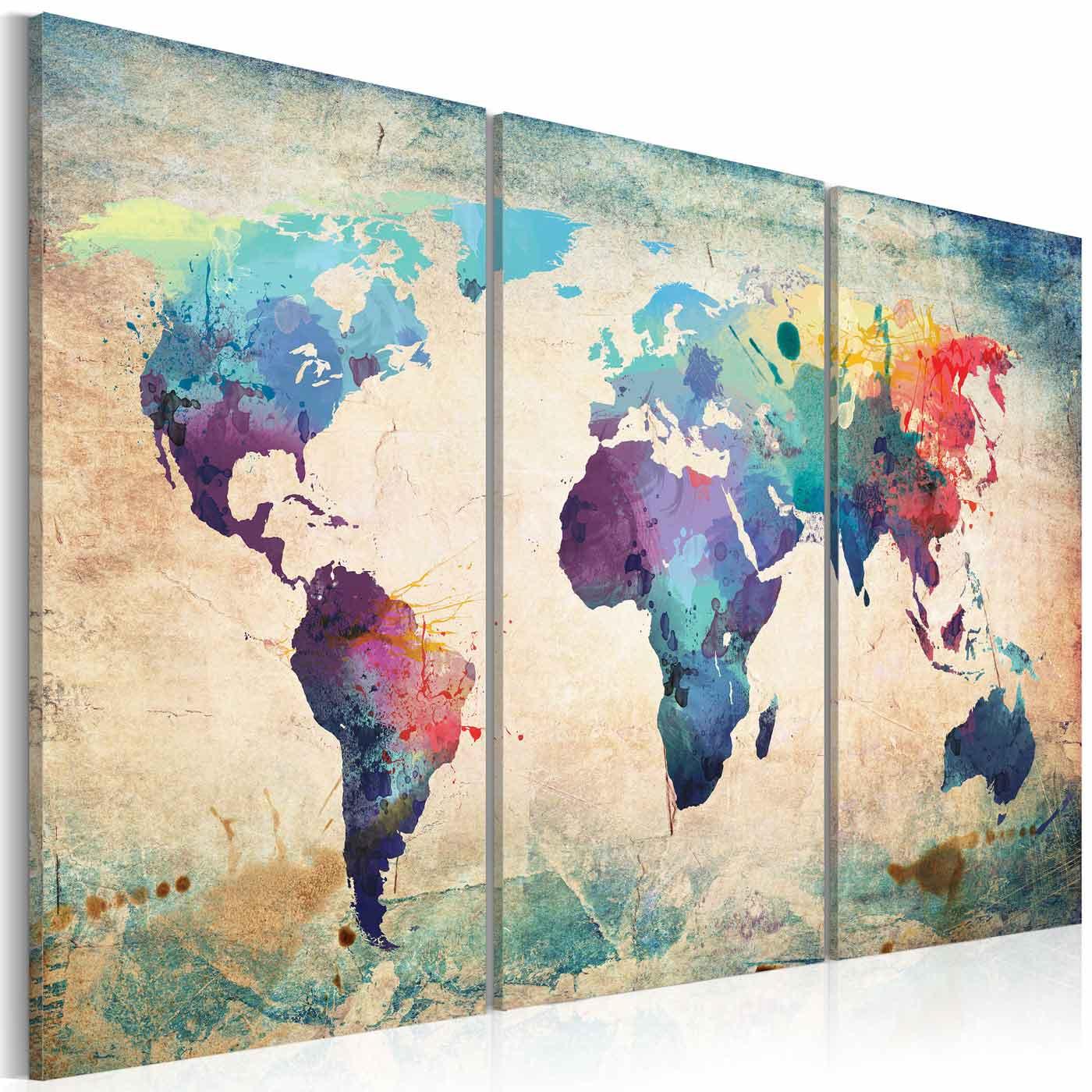 Artgeist rainbow triptych billede - multifarvet print, 2 størrelser 60x40 fra artgeist på boboonline.dk