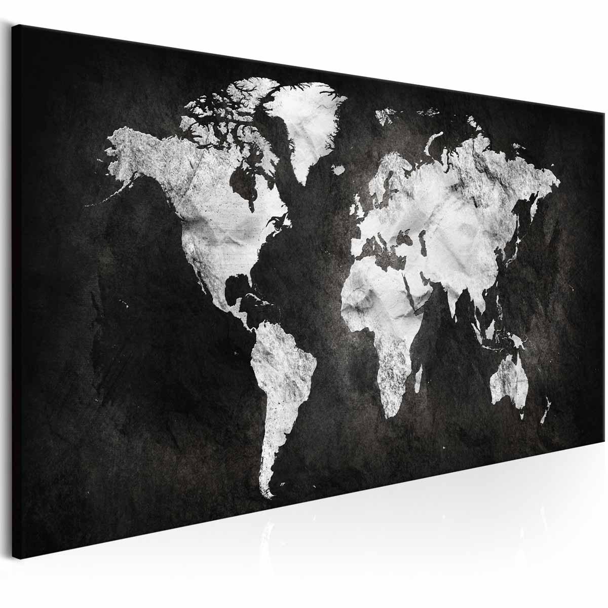 artgeist – Artgeist two-coloured verdenskort billede - hvid/sort print, 3 størrelser 120x40 fra boboonline.dk