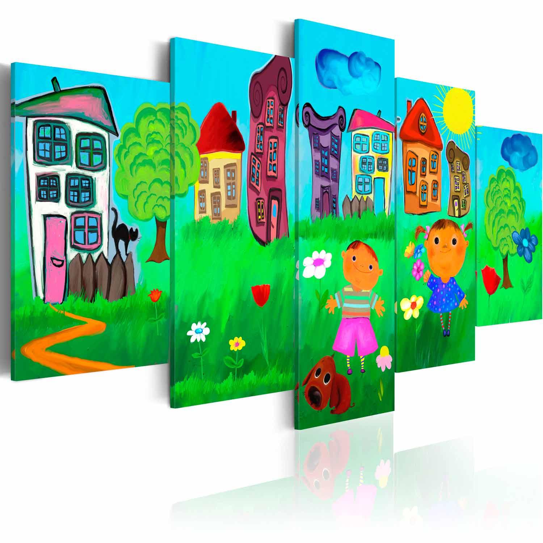 Artgeist Ubekymrede Barndom Billede - Multifarvet Print, 2 Størrelser 100X50 Børneværelset
