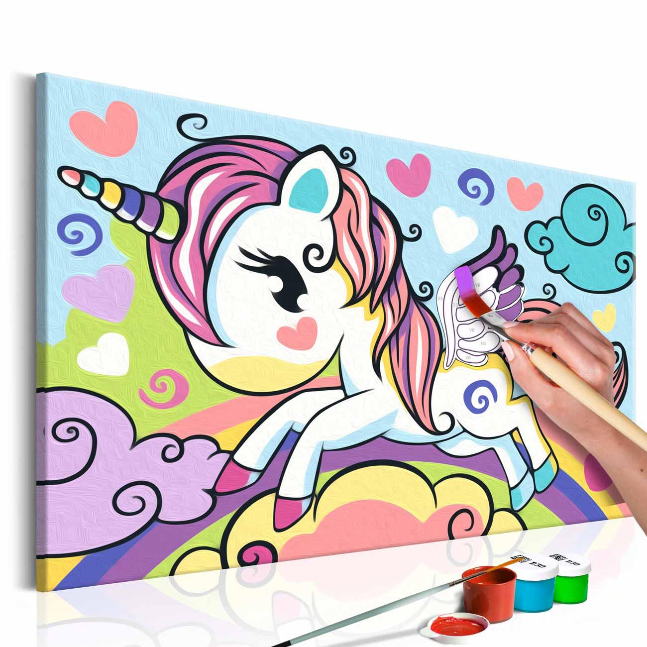 Artgeist diy colourful unicorn maleri - hvidt lærred, inkl. maling og pensel (23x90) fra artgeist på boboonline.dk